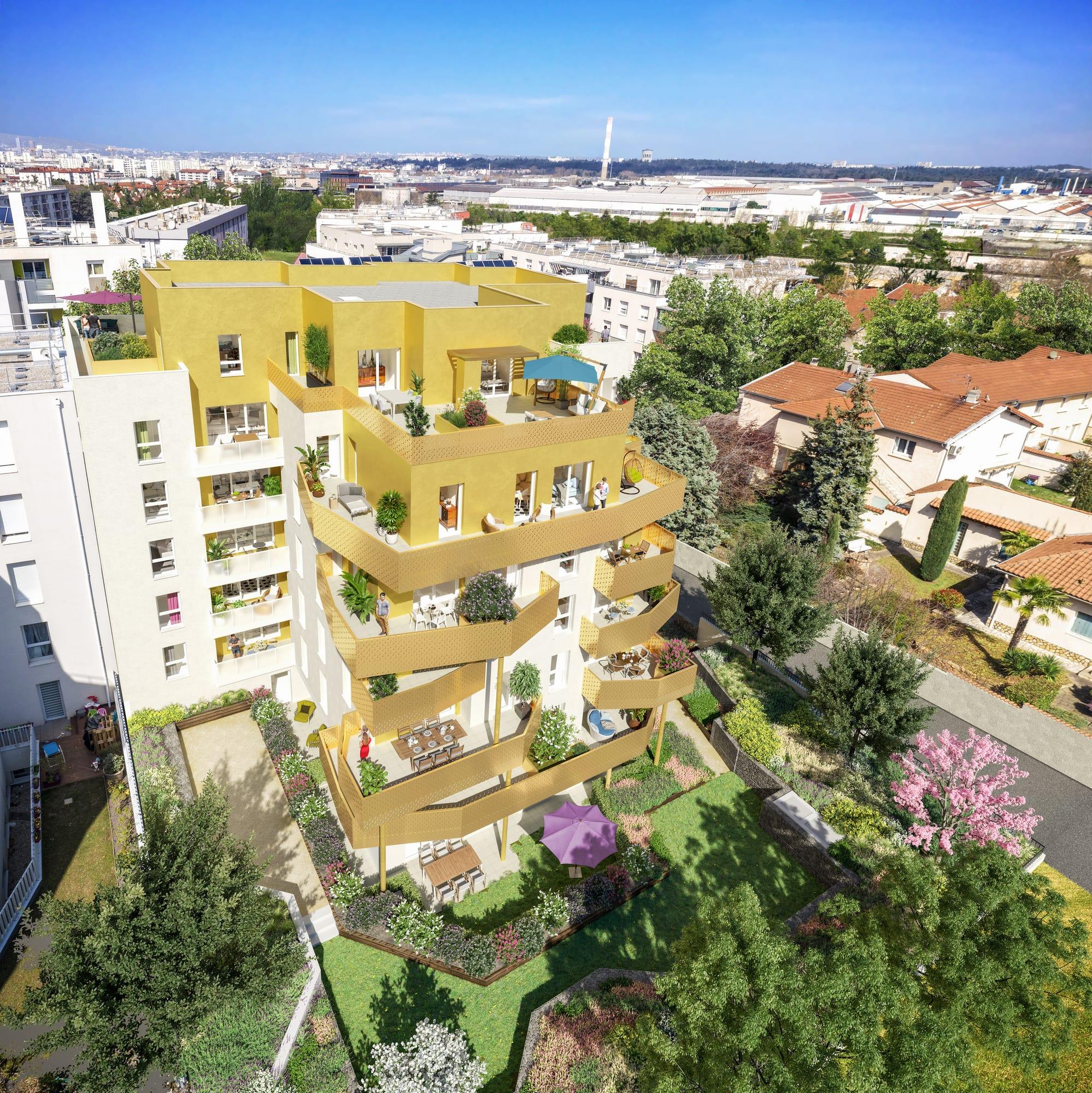 Programme immobilier ALT100 appartement à Vénissieux (69200) Oxygénée par un agréable jardin intérieur